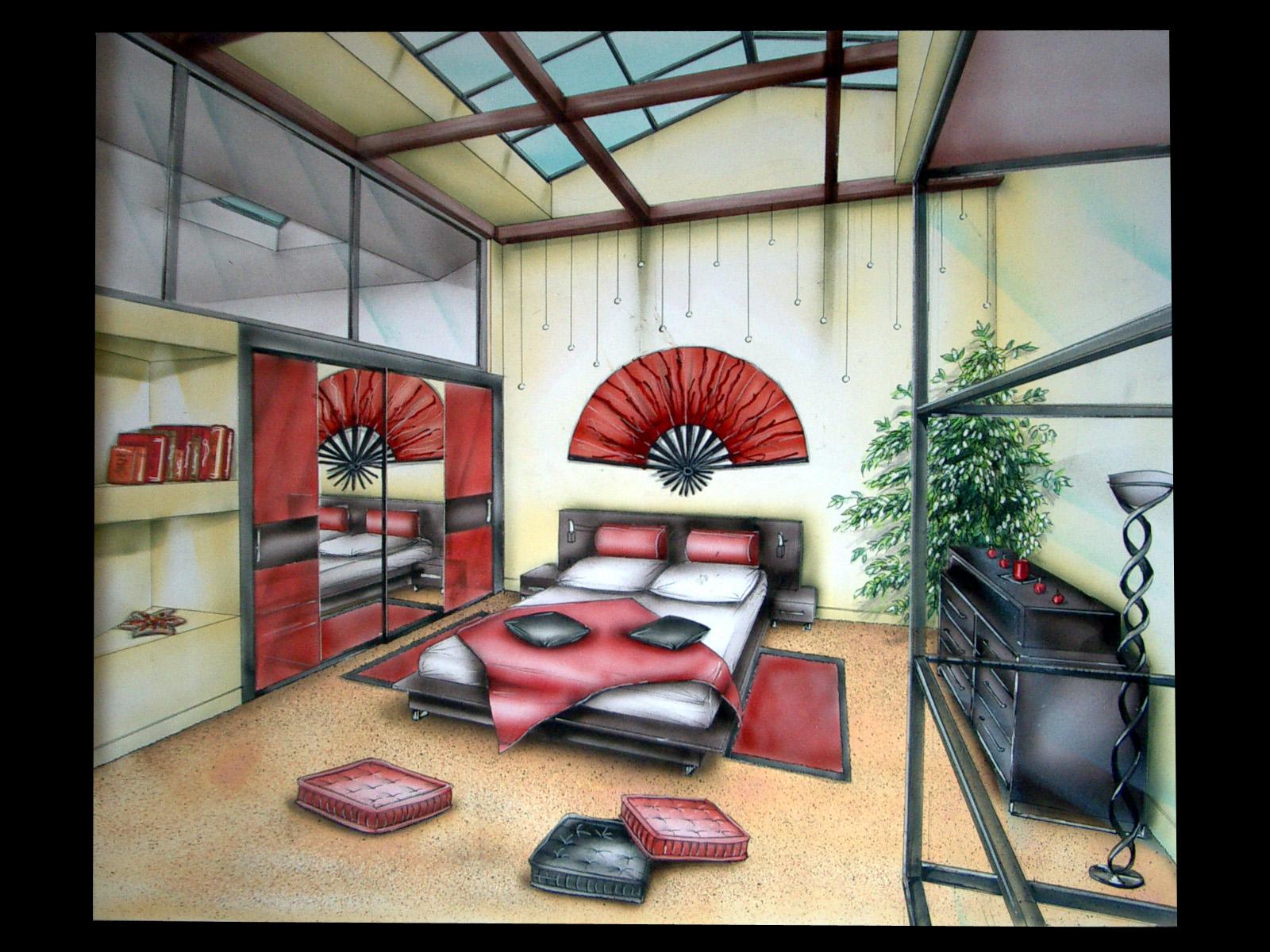 Chambre de nuit moderne design de maison for Chambre en perspective lineaire